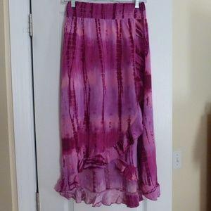 Justice Tie Dye Pink Long Skirt Sz 18 or Petite 4